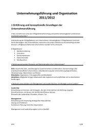 Unternehmungsführung und Organisation 2011/2012 1 ... - PBS