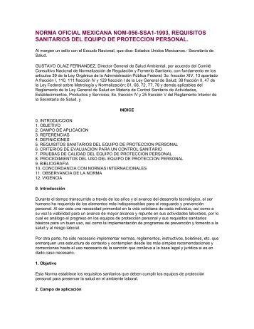 norma oficial mexicana nom-056-ssa1-1993, requisitos ... - RAP-AL