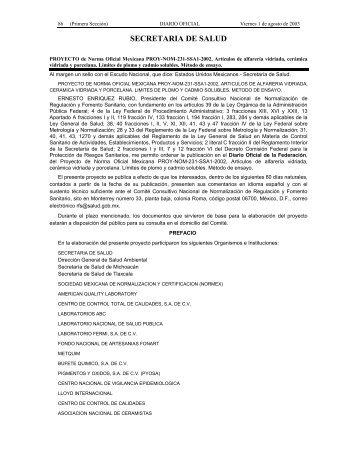 PROYECTO de Norma Oficial Mexicana PROY-NOM-231-SSA1 ...