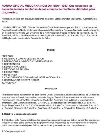 NORMA OFICIAL MEXICANA NOM-064-SSA1 ... - Instituto de Salud