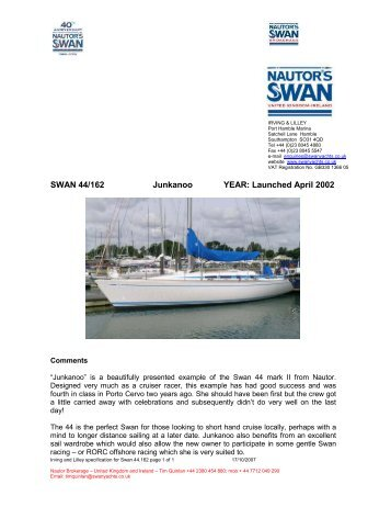 Launched April 2002 - NAutor's Swan UK