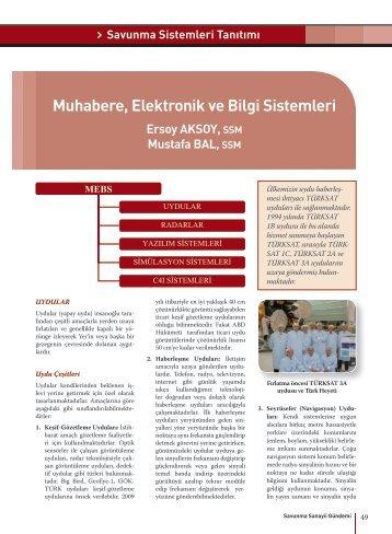 Muhabere, Elektronik ve Bilgi Sistemleri - Savunma Sanayii ...