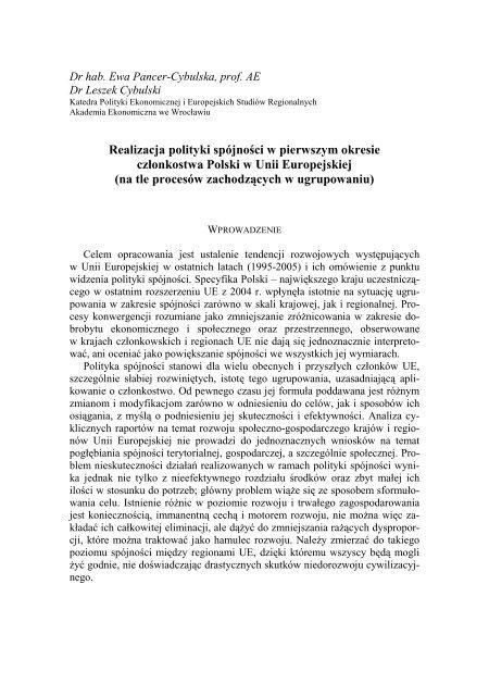 Realizacja polityki spójności w pierwszym okresie członkostwa ...