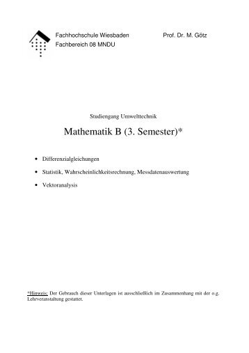 Mathematik B (3. Semester)*
