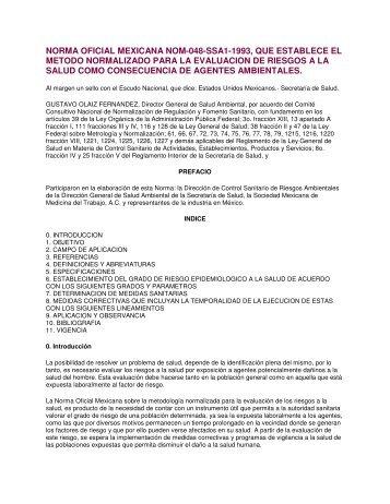 NORMA OFICIAL MEXICANA NOM-048-SSA1-1993, QUE ... - VERTIC