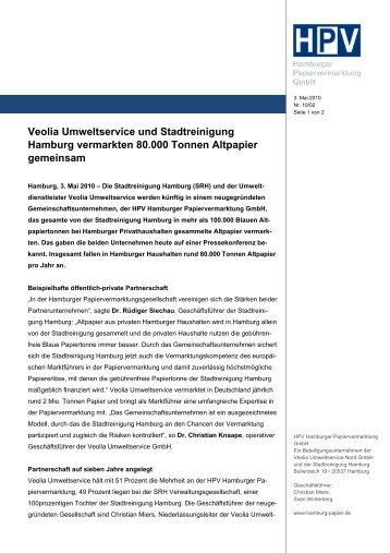 Veolia Umweltservice und Stadtreinigung Hamburg vermarkten ...