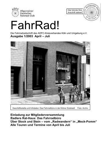 Download: Ausgabe 01/2003 der FahrRad! - beim ADFC