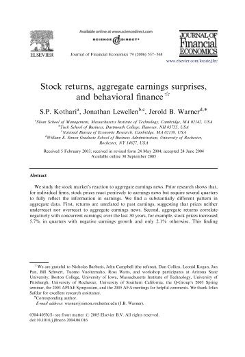 Stock returns, aggregate earnings surprises, and behavioral finance