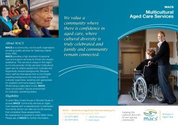MACS Information brochure pdf - Multicultural Aged Care Services