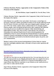 Citizens, Elections, Parties: Approaches to the Comparative Study of ...