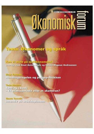 Tema: Økonomer og språk - Samfunnsøkonomene