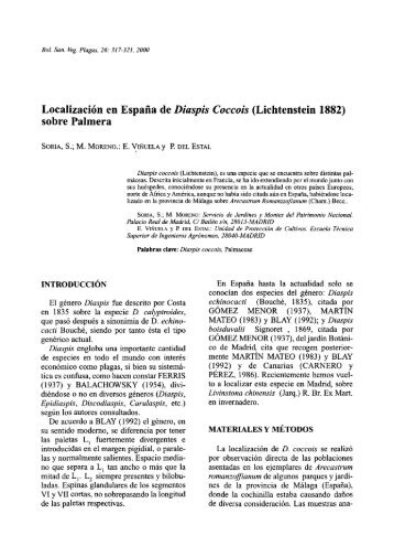 Localización en España de Diaspis Coccois (Lichtenstein 1882 ...