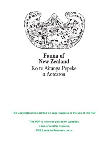 Fauna of NZ 66: print quality - Landcare Research