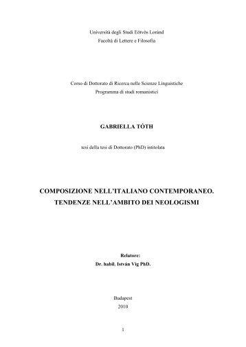 composizione nell'italiano contemporaneo. tendenze nell'ambito dei ...