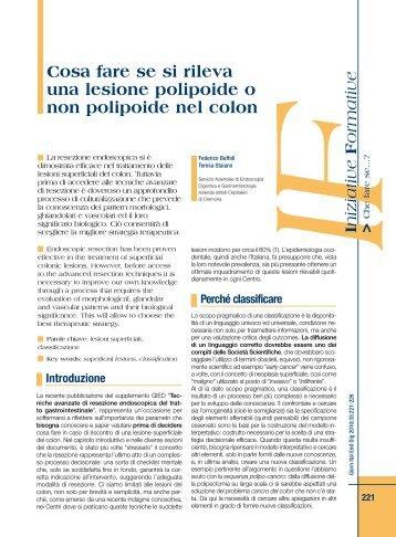 Cosa fare se si rileva una lesione polipoide o non polipoide ... - Sied
