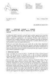 Alle IMPRESE ASSOCIATE IRPEF - Addizionali regionale e ... - Ania