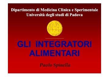 gli integratori alimentari - Istituto Veneto di Scienze, Lettere ed Arti