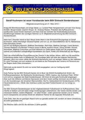 Berichte zur Mitgliederversammlung - BSV Eintracht Sondershausen ...
