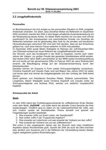 Bericht der Jungpfadfinderstufe zur DV 2003