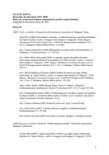 Klaudy Kinga műveire való hivatkozások jegyzéke