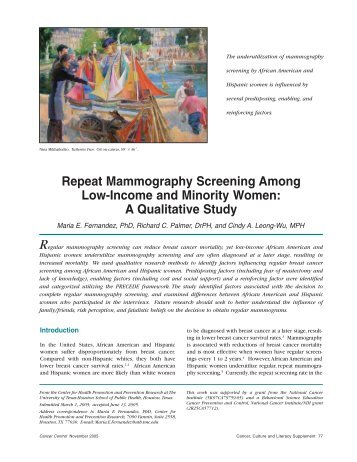 Repeat Mammography Screening Among Low-Income and Minority ...