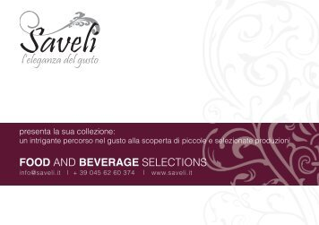 FOOD AND BEVERAGE SELECTIONS - Saveli | L'Eleganza del Gusto