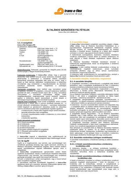 ÁLTALÁNOS SZERZŐDÉSI FELTÉTELEK - trans-o-flex Magyarország 8d1277d809