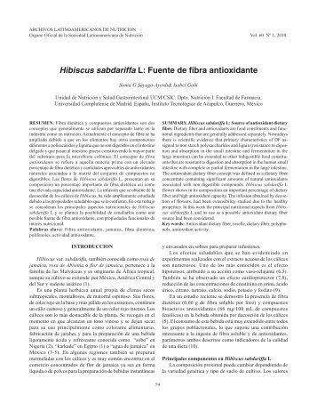 Hibiscus sabdariffa L: Fuente de fibra antioxidante - SciELO