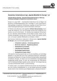 """Deutsches Verkehrsforum legt """"Agenda Mobilität für Europa"""" vor"""