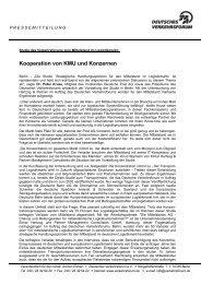 Kooperation von KMU und Konzernen - Deutsches Verkehrsforum