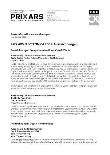 PRIX ARS ELECTRONICA 2005: Auszeichnungen