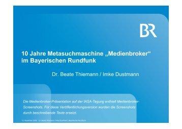 """10 Jahre Metasuchmaschine """"Medienbroker"""" im Bayerischen ..."""