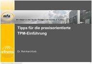 Tipps für die praxisorientierte TPM-Einführung - Maintenance ...
