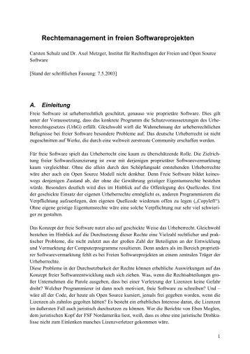 Rechtemanagement in freien Softwareprojekten - ifrOSS