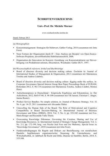 Publikationen - Reinhard-Mohn-Institut