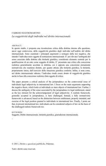 La soggettività degli individui nel diritto internazionale