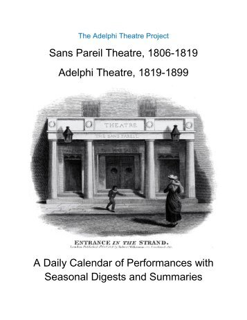 The Adelphi Theatre 1806-1900 Preface - University of ...