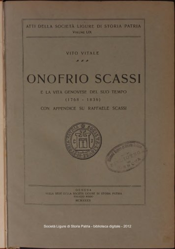 ONOFRIO SCASSI - Società Ligure di Storia Patria