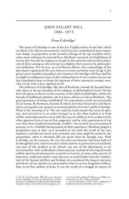 JOHN STUART MILL 1806–1873 From Coleridge1 - WW Norton ...
