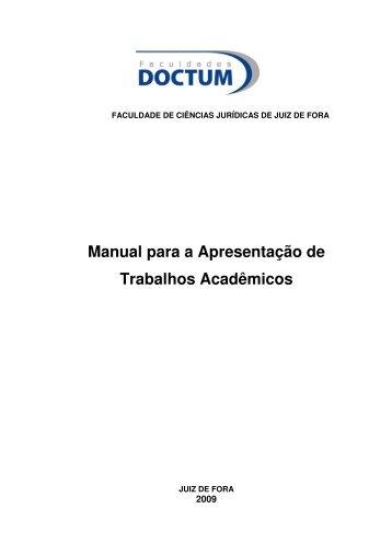 Manual para a Apresentação de Trabalhos Acadêmicos - Doctum