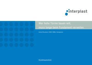 Prospekt Grundmauerschutz - INTERPLAST Kunststoffe GmbH