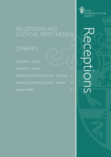 Reception cocktail menu - rpsconferences.co.uk