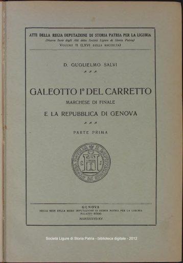 GALEOTTO 1° DEL CARRETTO - Società Ligure di Storia Patria