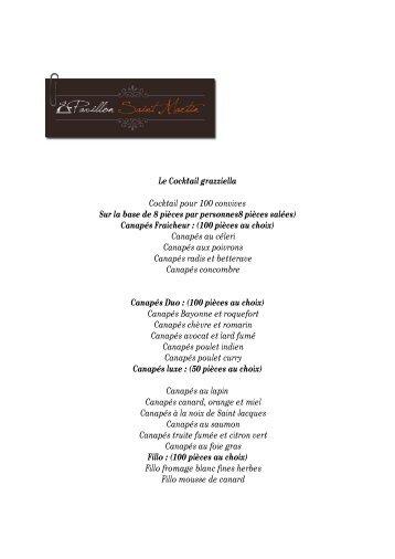 Le Cocktail grazziella Cocktail pour 100 convives Sur la ... - Y-Kreation