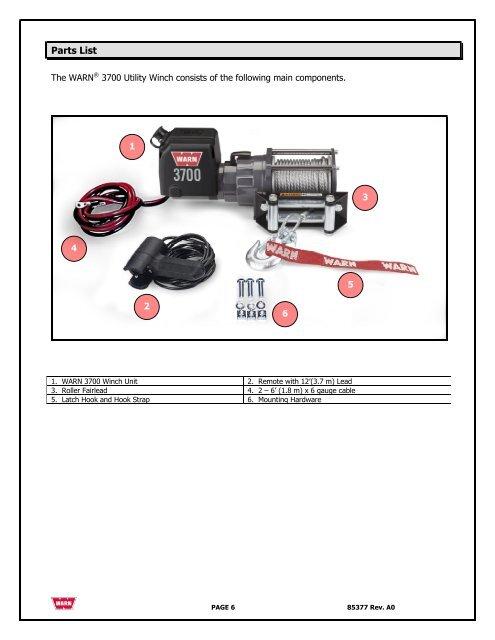warn 3700 winch wiring diagram parts list the warn    37  parts list the warn    37
