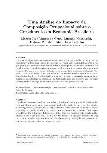 Uma análise do impacto da composição ocupacional sobre ... - Anpec