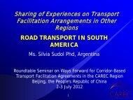 Road Transport in South America - CAREC