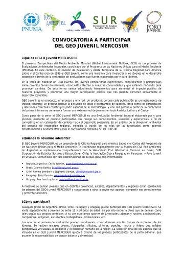 convocatoria a participar del geo juvenil mercosur - Ecopibes.com
