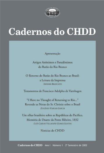 Cadernos do CHDD Nº 01 - Funag