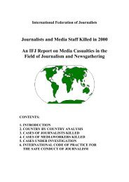 Journalists and Media Staff Killed in 2000 An IFJ Report on Media ...